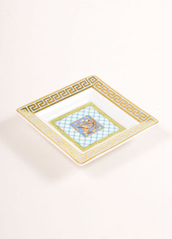 "Versace Rosenthal Multicolor and Gold Metallic ""Russian Dream"" Mini Dish Plate Sideview"