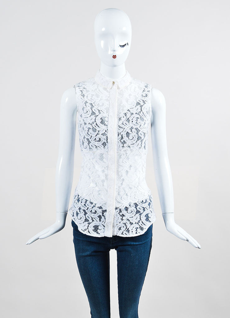 White Victoria Beckham Lace Button Up Sleeveless Top  Frontview