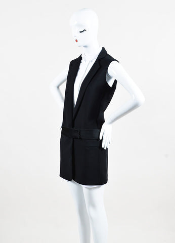 Victoria Victoria Beckham Black and White Cotton Button Up Layered Vest Dress Sideview