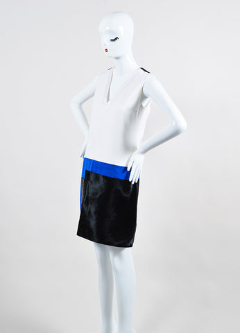 Victoria Victoria Beckham White, Blue, and Black Calf Hair Color Block Dress Sideview