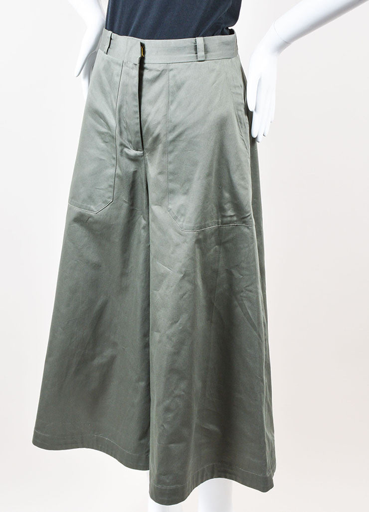 "Vilshenko Khaki Green ""Tara"" Cotton Flared Leg Culottes Pants Sideview"