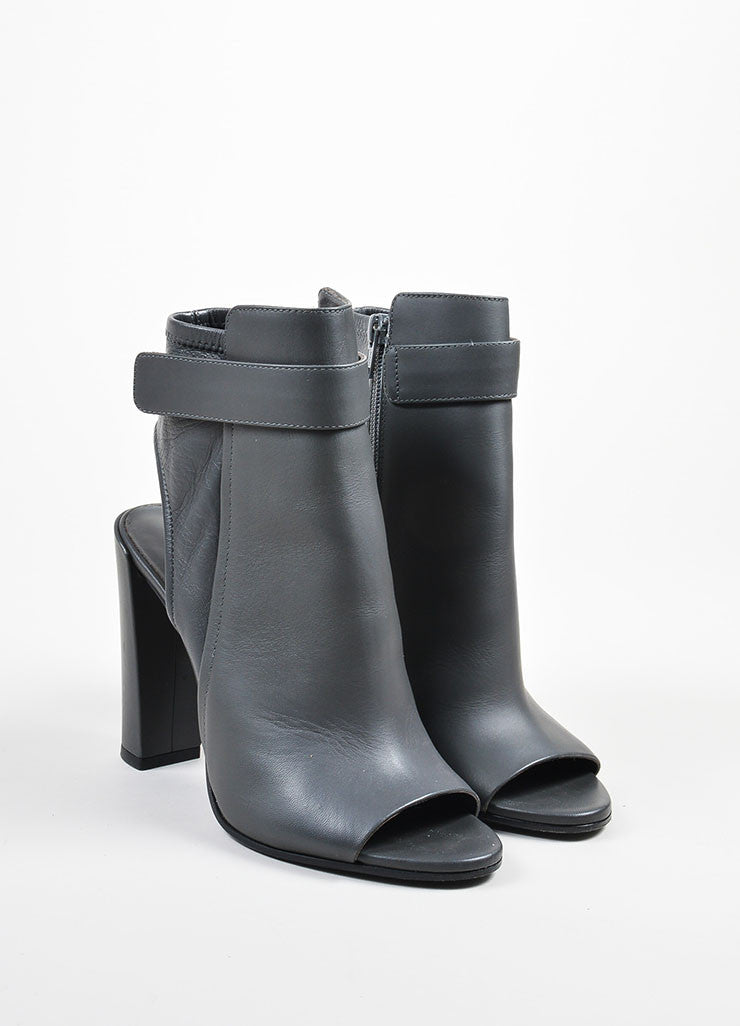 "Graphite Grey Vince Leather ""Brigham"" Ankle Booties Front"