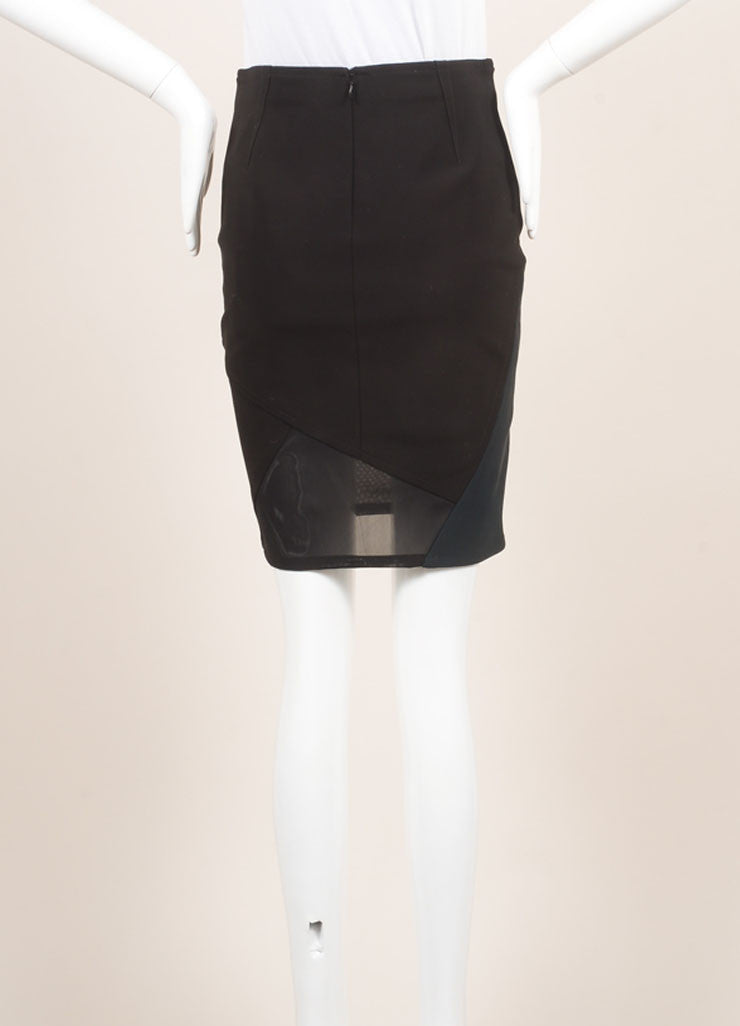 Yigal Azrouel New With Tags Black and Green Mechanical Stretch Paneled Pencil Skirt backveiw