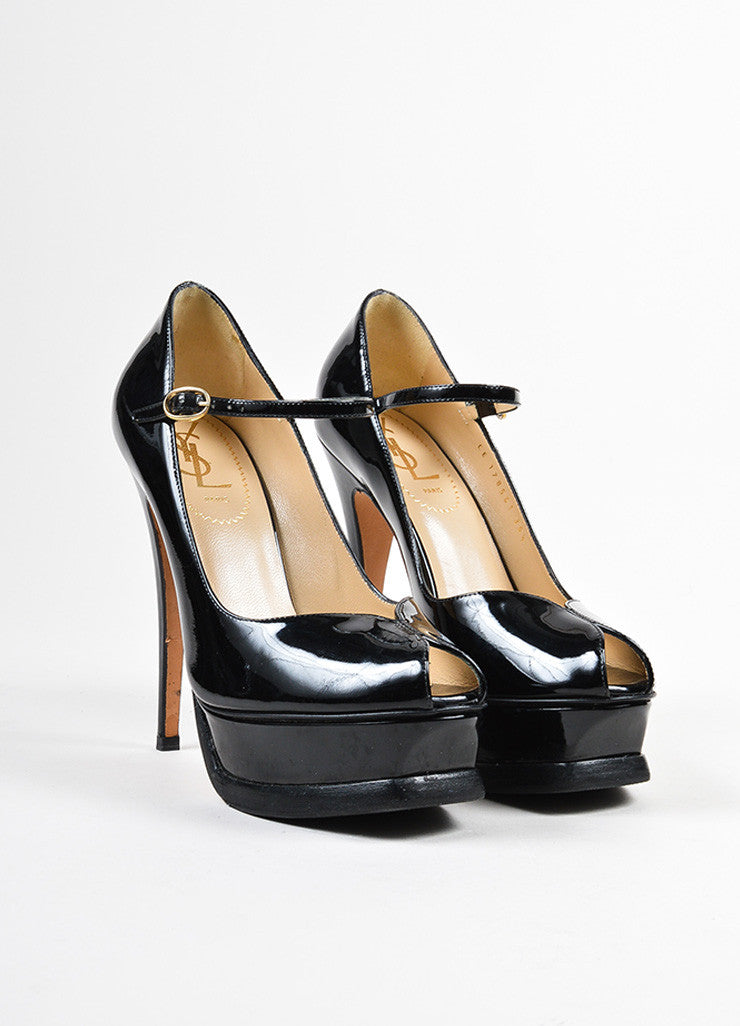 "Yves Saint Laurent Black Patent Leather Mary Jane ""Tribute 105"" Pumps Frontview"