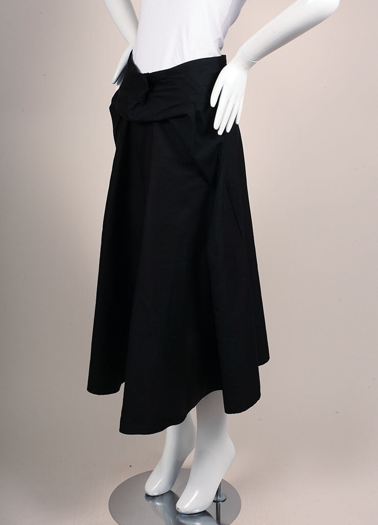 Yves Saint Laurent Black Silk A-Line Pleated Skirt Sideview