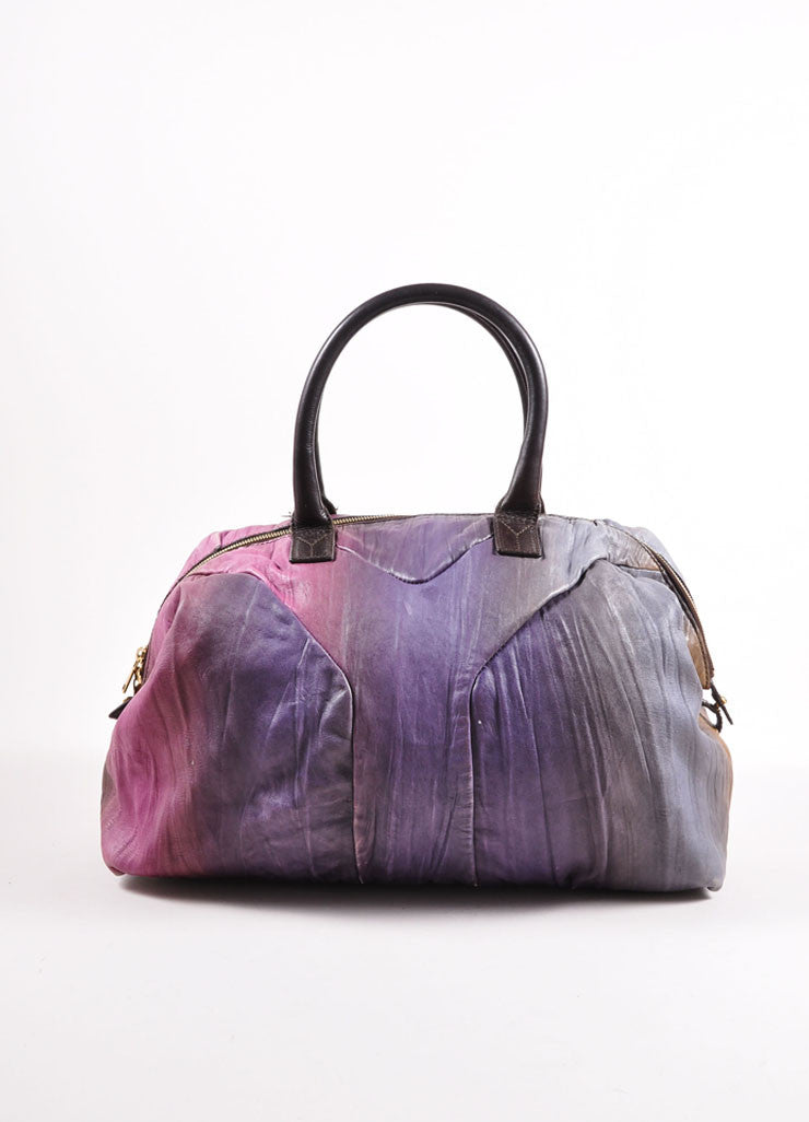 "Yves Saint Laurent Purple Multicolor Leather Ombre ""Easy Sac"" Satchel Bag Frontview"