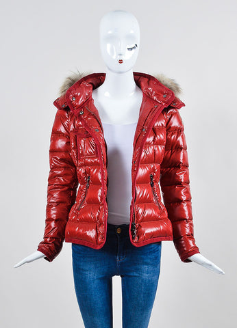 "Red Moncler Quilted Down Puffer Fur Trim ""Armoise"" Jacket Frontview"