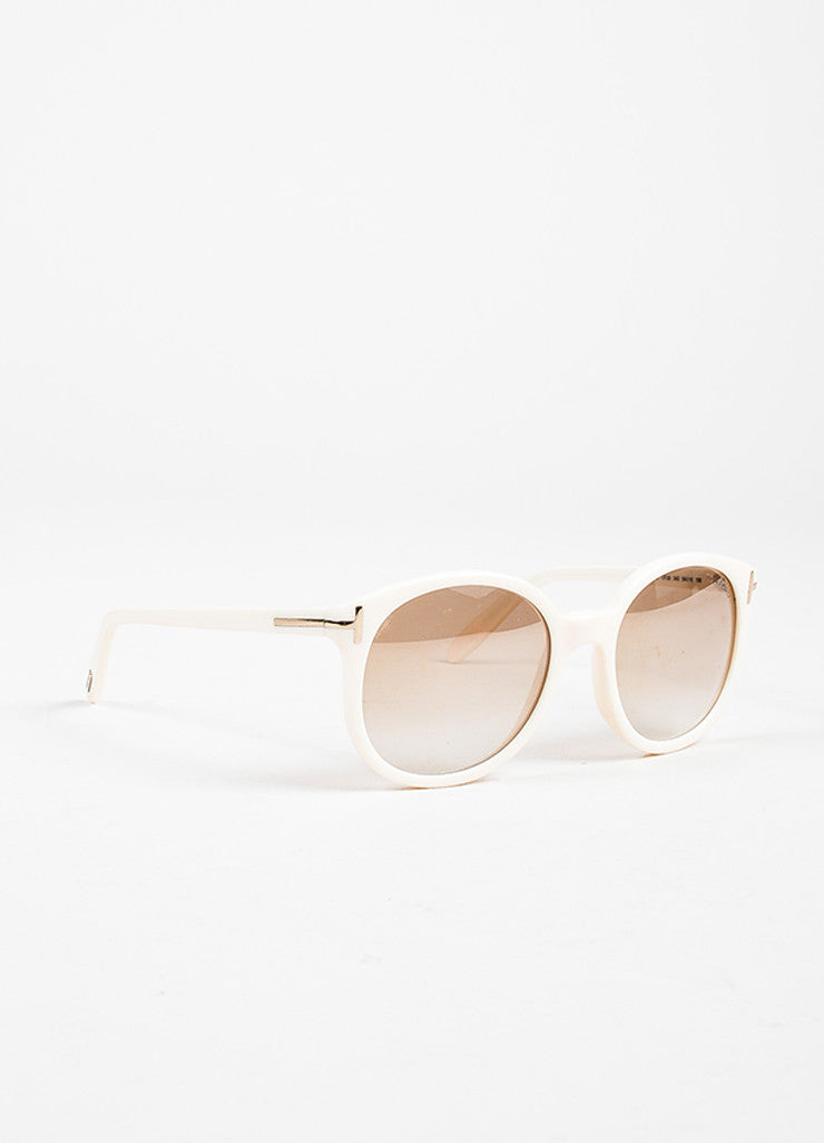 "Tom Ford Cream Mirrored Lens Round ""Diane"" Sunglasses Sideview"