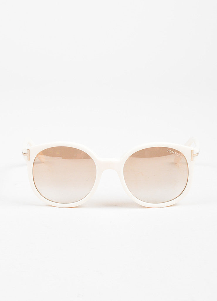 "Tom Ford Cream Mirrored Lens Round ""Diane"" Sunglasses Frontview"