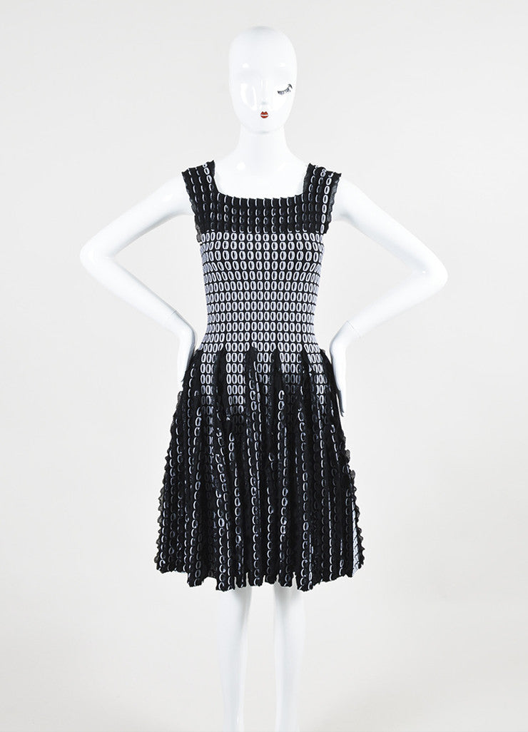 Black and White Alaia Circle Knit 3D Ruffle Sleeveless Flare Dress Frontview