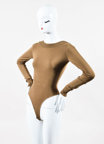 Alaia Tan Stretch Knit Long Sleeve High Neck Bodysuit  Sideview