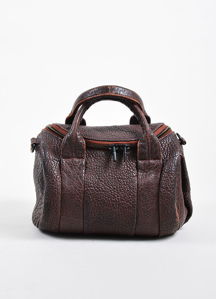 """Raisin"" Maroon Alexander Wang Leather Matte Black Studded ""Rockie"" Duffel Bag Frontview"