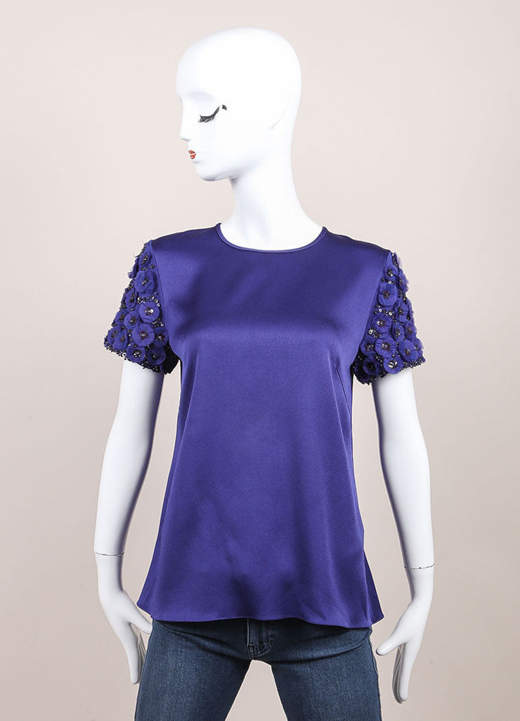 Andrew Gn New With Tags Blue Floral Applique Sequin Embellished Top Frontview