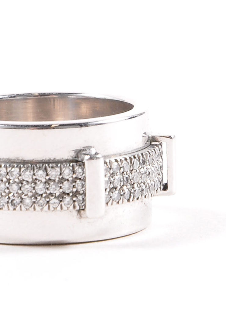 "18K White Gold and Pave Diamond Asprey ""Keria"" Rotating Bar Wide Ring Detail"