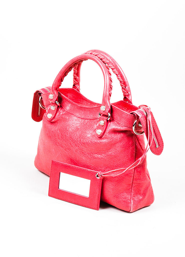 "Pink ""Rose Thulian"" Balenciaga Leather Studded ""Town"" Handbag Sideview"