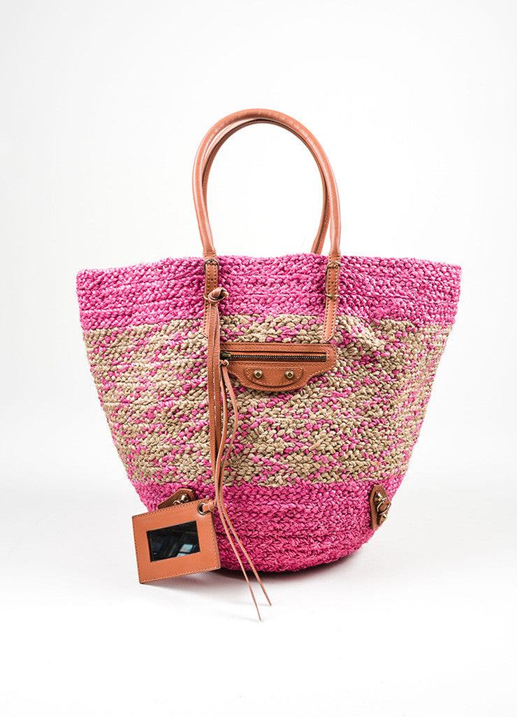 "Balenciaga Pink and Tan Woven Straw Leather Trim ""Panier Basket"" Tote Bag Frontview"