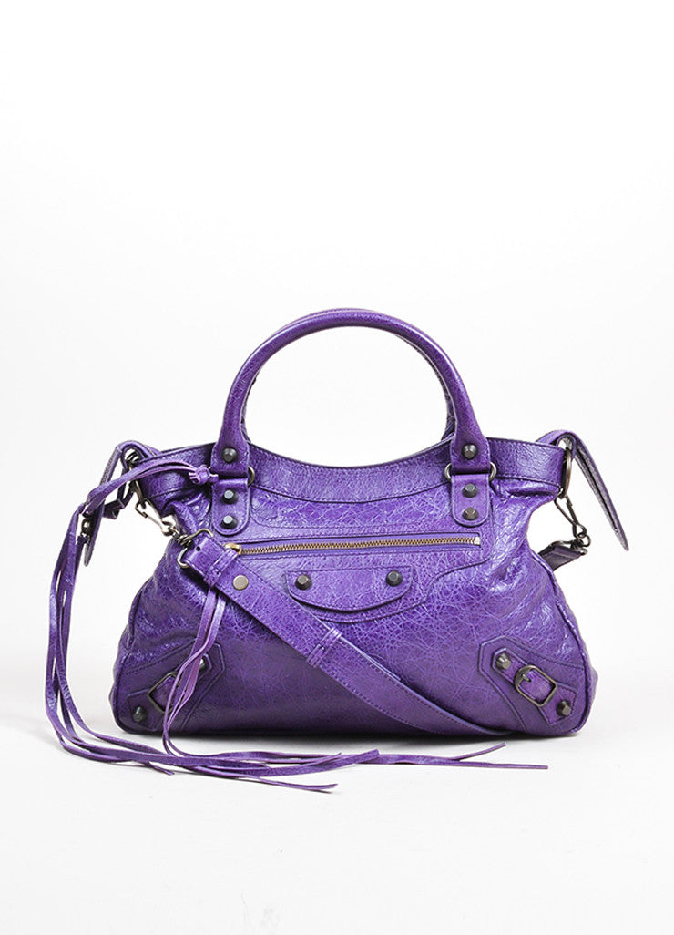 "Purple Balenciaga Leather ""Classic Town"" Moto Bag Front"