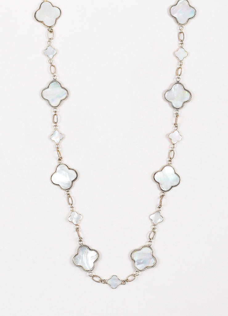 Barry Brinker Sterling Silver and Mother Of Pearl Quatrefoil Station Necklace Detail
