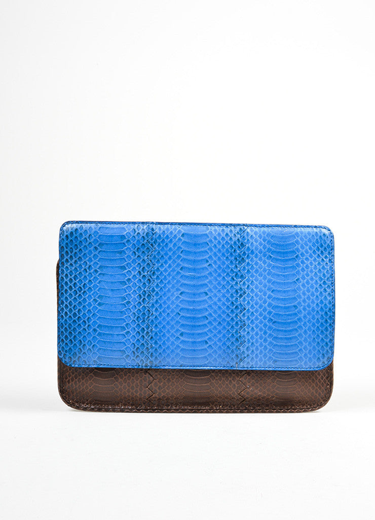 Brown and Blue Bottega Veneta Embossed Leather Frame Envelope Clutch Bag Frontview