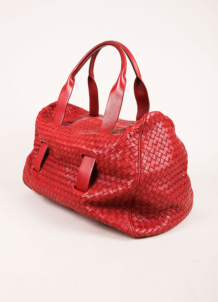 Bottega Veneta Red Leather Intrecciato Duffel Bag Sideview