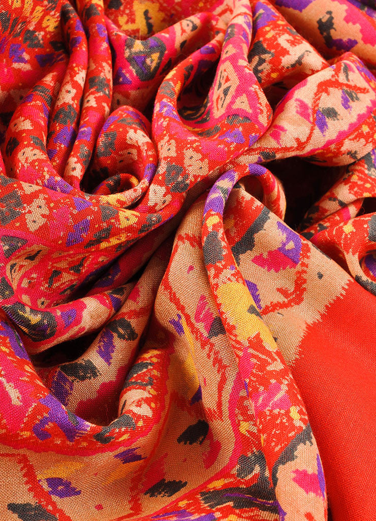 Bottega Veneta Red, Tan, and Multicolor Knit Graphic Print Scarf Detail