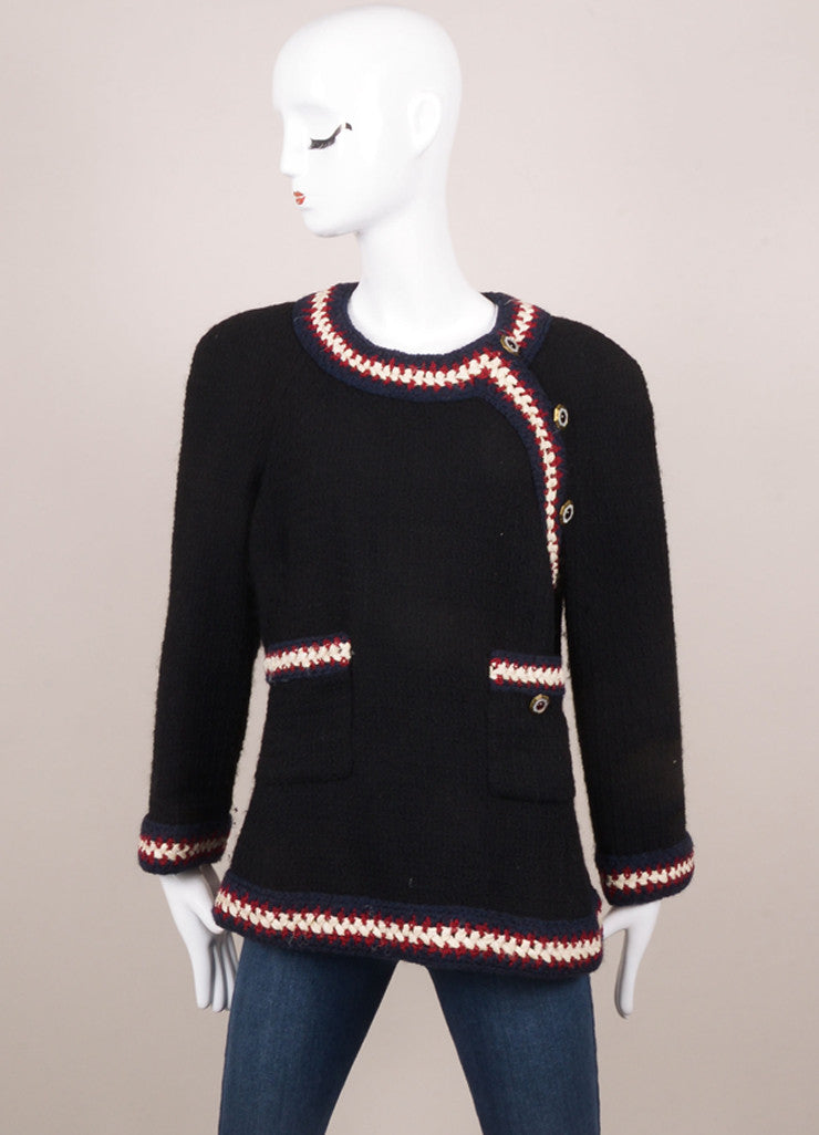 Chanel Black, Navy, Red, and Cream and Wool Textured Woven Button Embellished Jacket Frontview