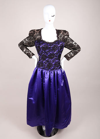 CH by Carolina Herrera Black and Purple Lace and Satin Pleated Long Sleeve Gown Frontview