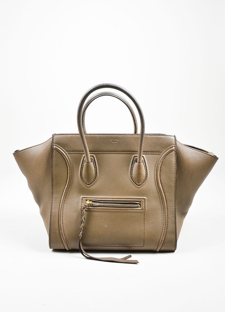 "Olive Green Celine Calfskin Leather Small ""Phantom"" Tote Bag Frontview"