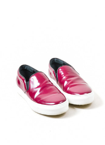 Celine Burgundy Leather Round Toe Slip On Sneaker Shoes frontview
