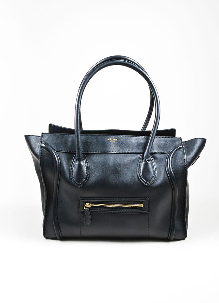 Black Celine Leather Luggage Tote Bag Frontview