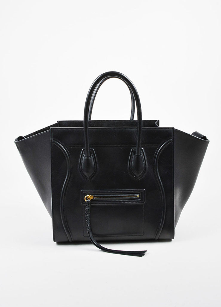 "Black Celine Leather Medium ""Phantom"" Luggate Tote Bag Front"