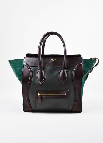 "Green and Brown Celine Suede Leather Tricolor ""Mini Luggage Tote"" Bag Front"