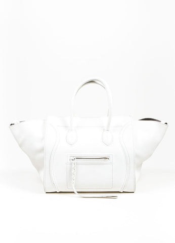 "White Celine Leather Braid Pull ""Small Phantom Luggage"" Tote Frontview"