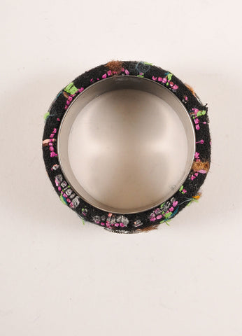 "Chanel Black and Multicolor Neon Tweed ""CC"" Bangle Bracelet Topview"