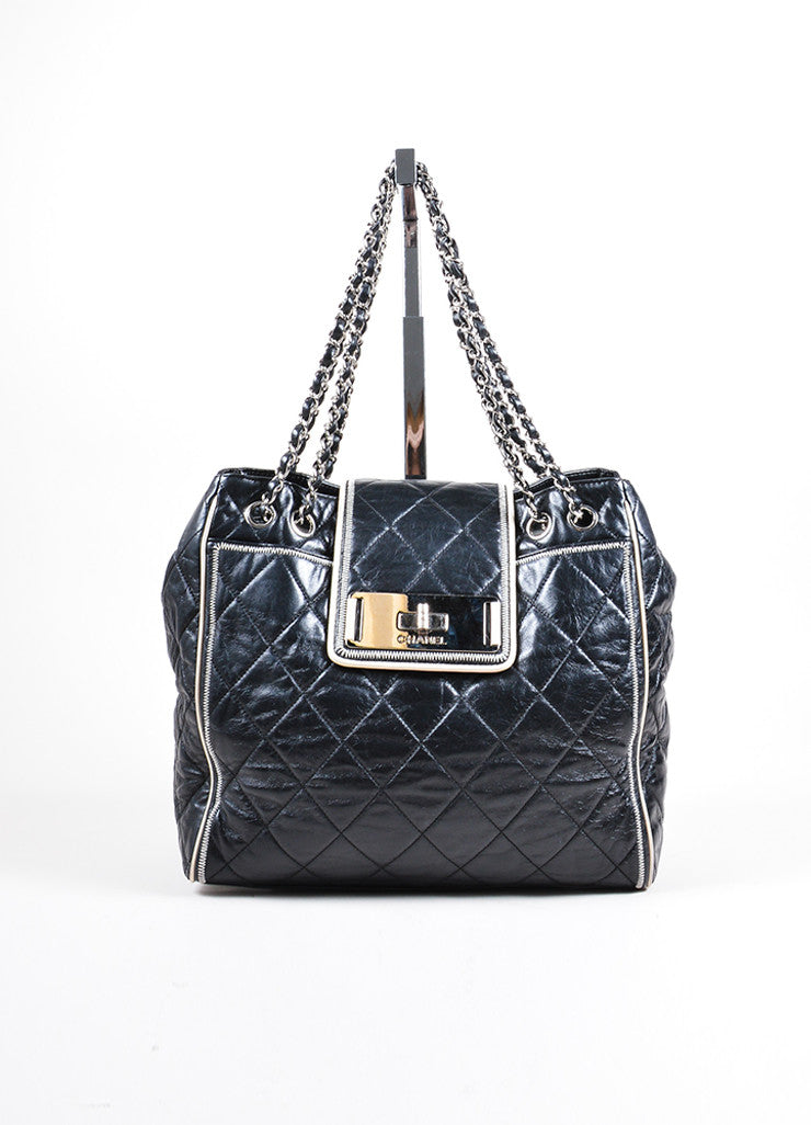 Chanel Black and Cream Quilted Leather East West Mademoiselle Tote Bag Frontview