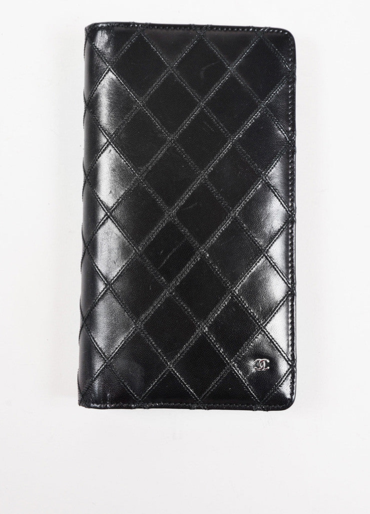 Chanel Black Lambskin Leather Quilted 'CC' Detail Coat Breast Pocket Wallet Frontview