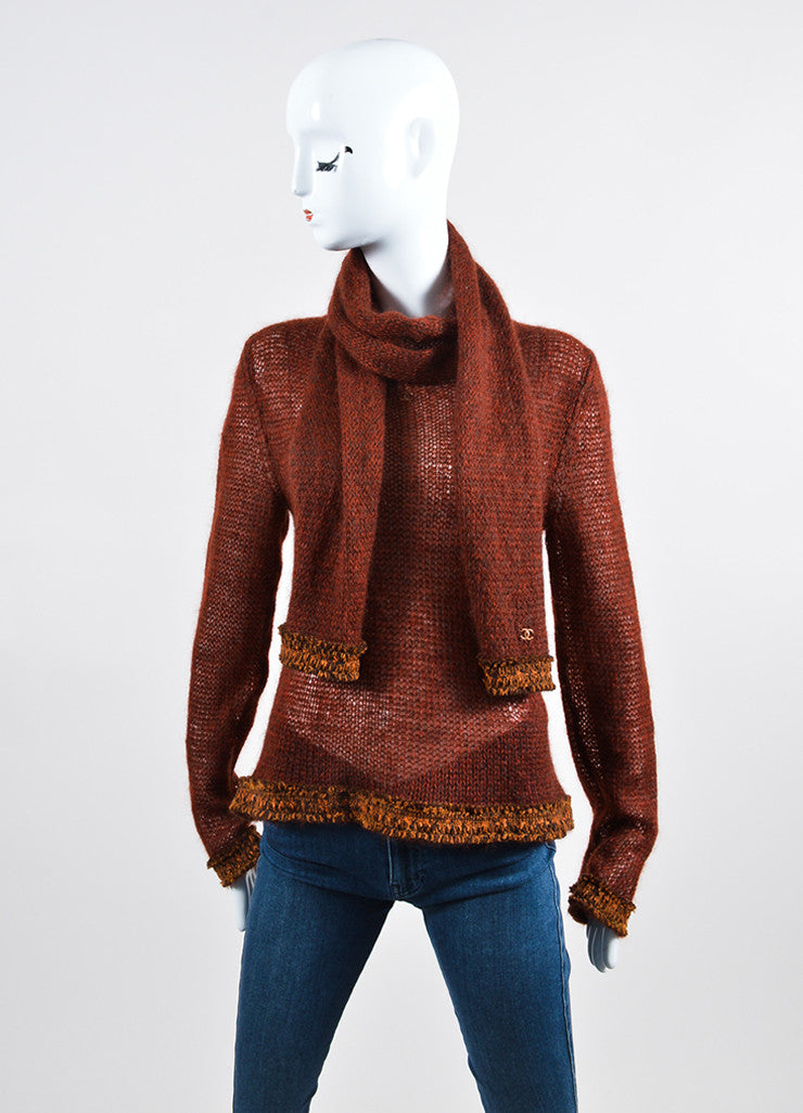 Dark Red and Brown Chanel Woolen Knit Fringe Trim Sweater Frontview
