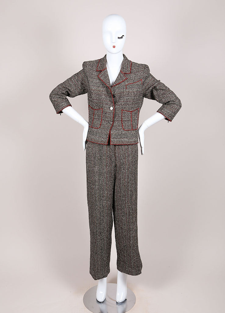 Chanel Black and Red Cotton Blend Tweed Three Piece Pant Suit Frontview
