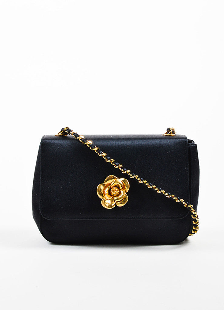 Black Chanel Satin Gold Toned Flower Chain Strap Shoulder Bag Frontview