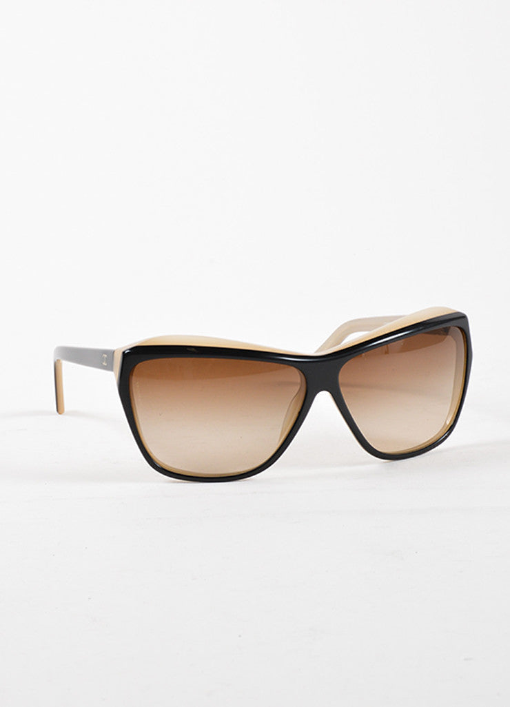 "Chanel Black and Taupe Plastic Gradient Lens ""5153"" Sunglasses Sideview"