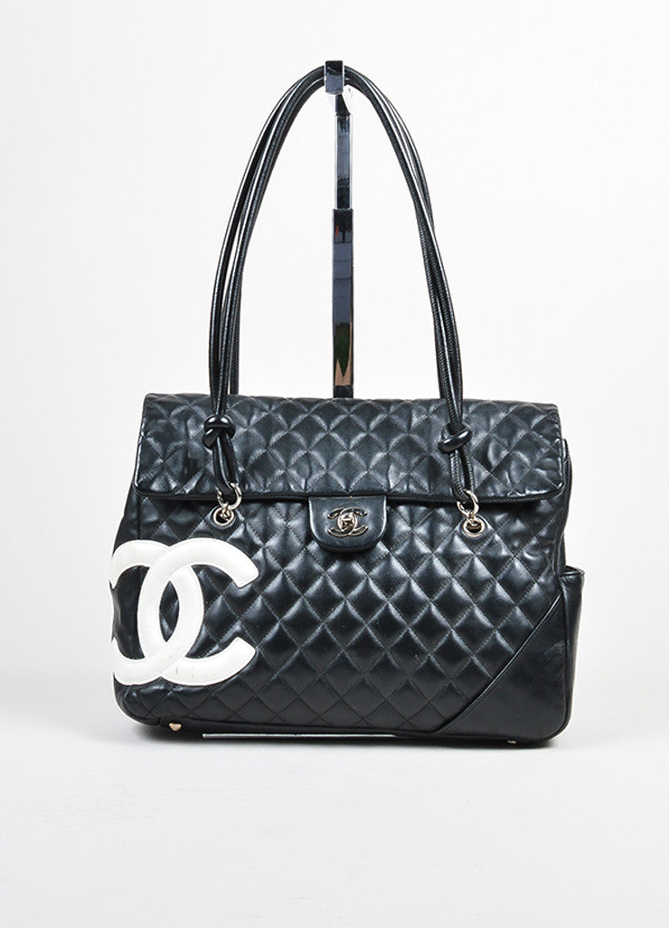 "Black and White Chanel Quilted Leather 'CC' ""Ligne Cambon"" Flap Bag Frontview"