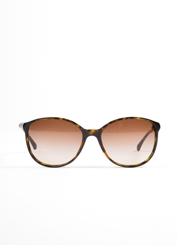 "Brown Tortoise and Gold Toned Chanel Embellished Arms Rounded ""5207"" Sunglasses Frontview"