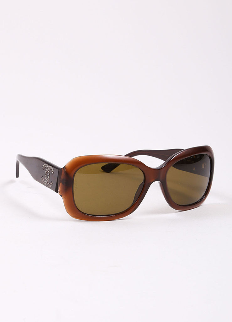 "Chanel Brown Translucent Oval ""CC"" Logo ""5102"" Sunglasses Sideview"