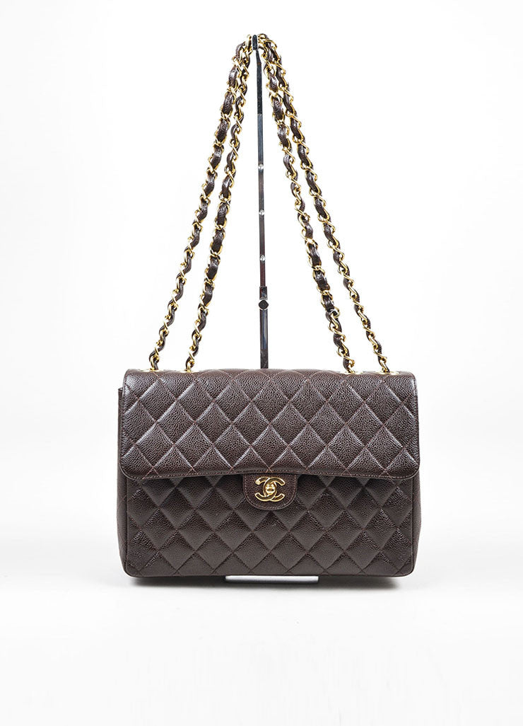 Chocolate Brown Chanel GHW Caviar Leather Chain Strap Classic Jumbo Flap Bag Frontview