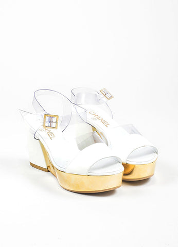 Cream, Clear, and Gold Toned Chanel Patent Leather Cut Out Platform Sandals Frontview