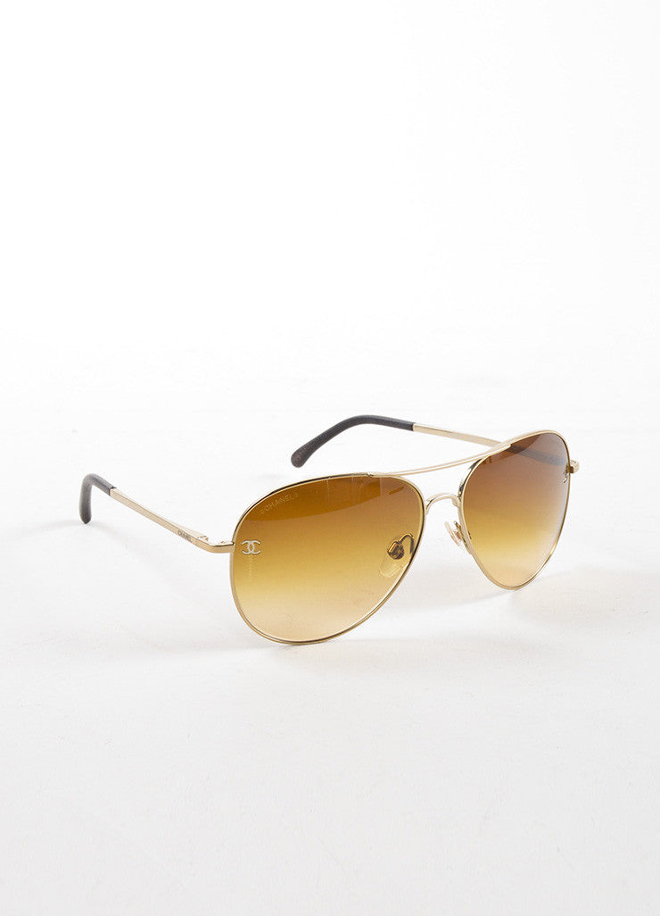 "Chanel Gold Toned Metal Brown Gradient Lens ""CC"" Aviator ""4189"" Sunglasses Sideview"