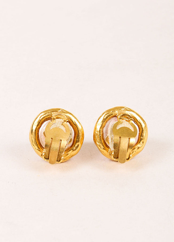 "Chanel Gold Toned and Faux Pearl ""CC"" Logo Stud Earrings Backview"