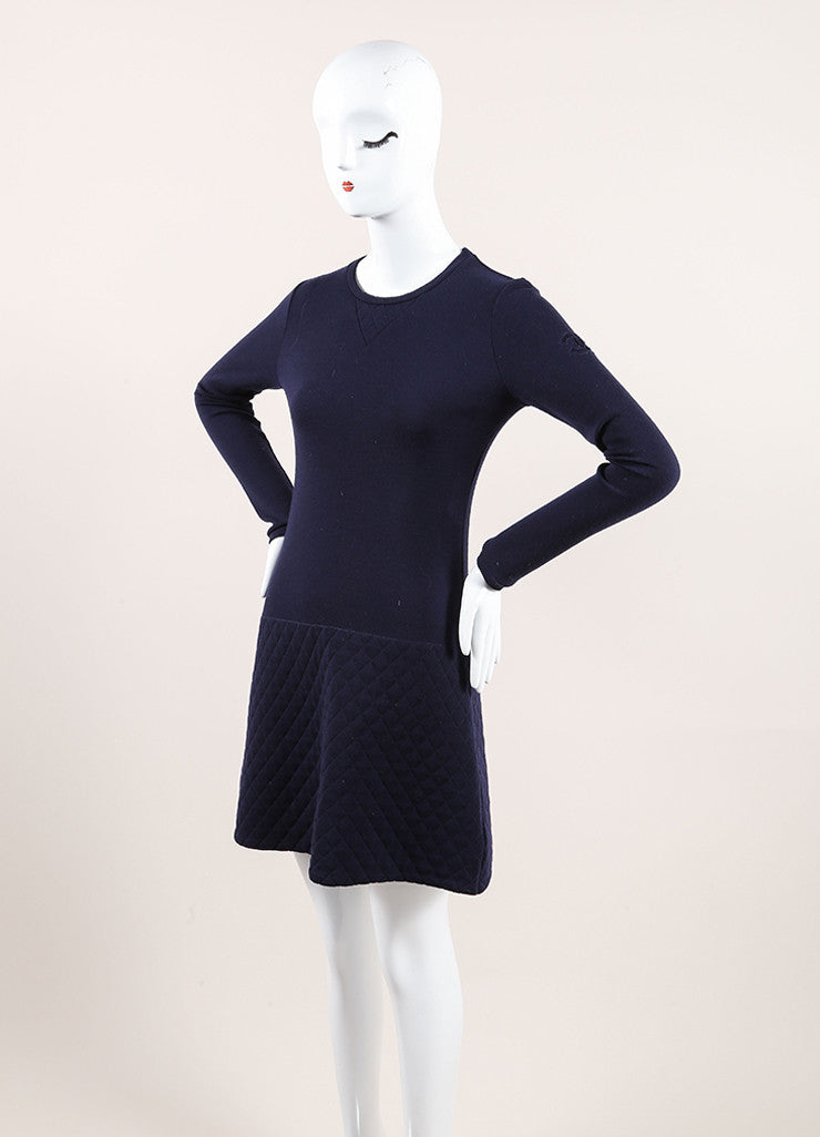 Chanel Navy Blue Wool Quilted Knit Drop Waist Long Sleeve Dress Sideview