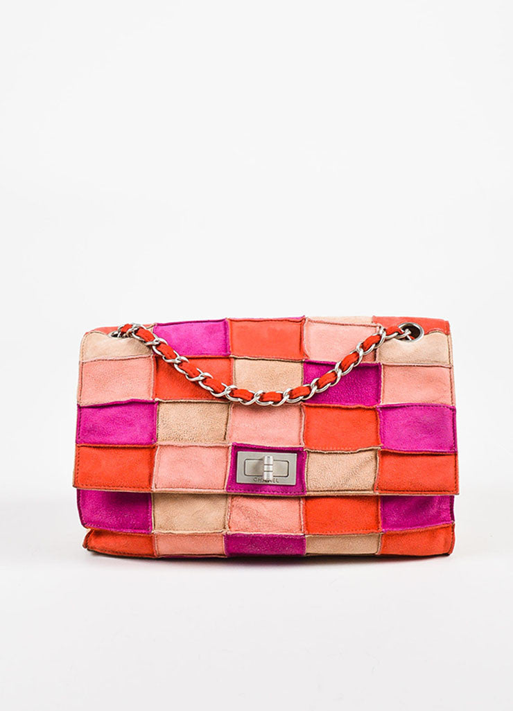 "Chanel Pink and Beige Suede Leather ""Mademoiselle Patchwork Reissue"" Flap Bag Frontview"