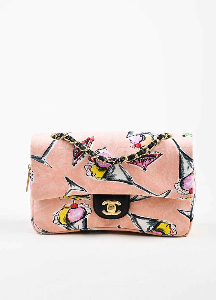 Chanel Pink Printed Canvas Ice Cream Sundaes Collection 'CC' Flap Bag Frontview